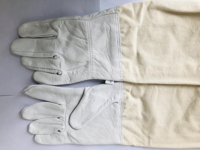 Durable White Sheepskin Sting Proof Gloves With White Wide Elastic Cuff