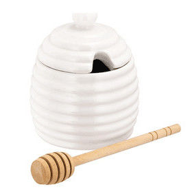 china Honey Pot And Spoon Ceramic White Honey Pot with Lid