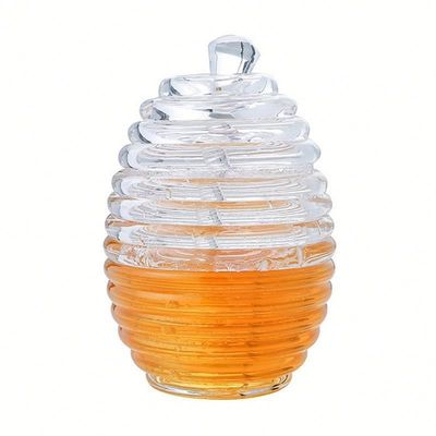 Two Types Transparent Bee Honey Pot and Spoon With Stirring Rod Crystal Mini Honey Jar