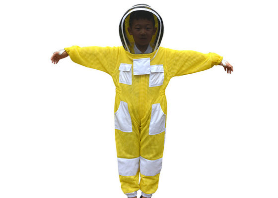 Children Yellow Color Three Layer Ventilated Beekeeping Protective Clothing