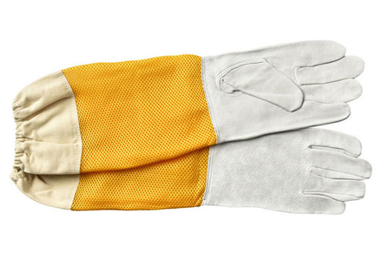 White Sheepskin Beekeeping Gloves with Ventilated Yellow Gridding Proof