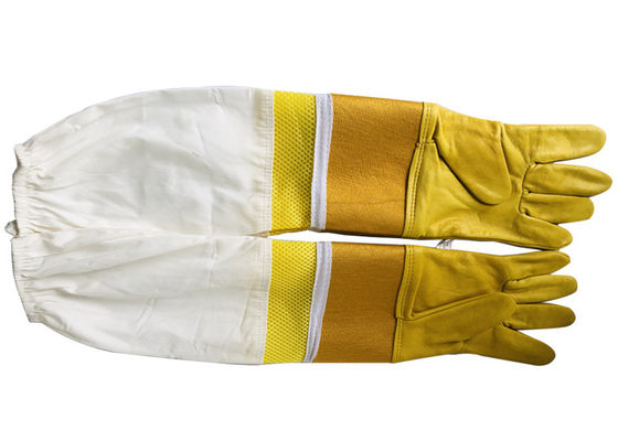#33 Goat skin yellow thick canvas wrist protector and Half  Ventilated with white cloth sleeve
